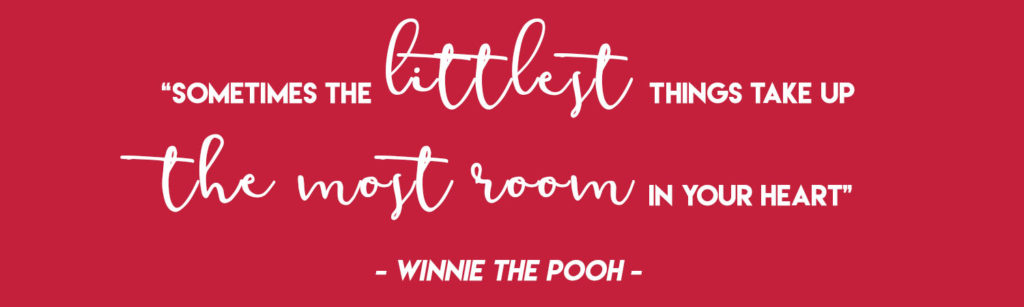 """""""Sometimes the littlest things take up the most room in your heart"""" - Winnie the Pooh"""