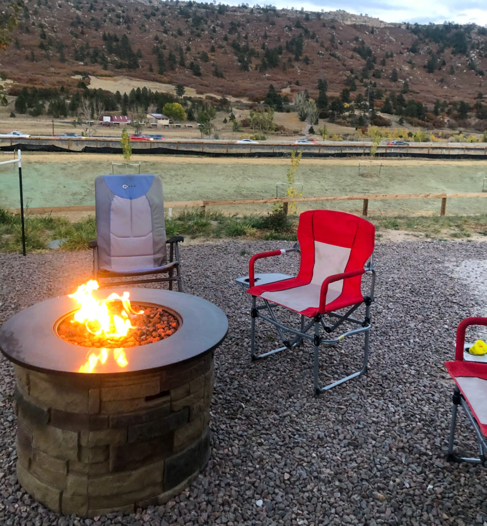Fire pit Jellystone Park Larkspur | best campground for kids in colorado