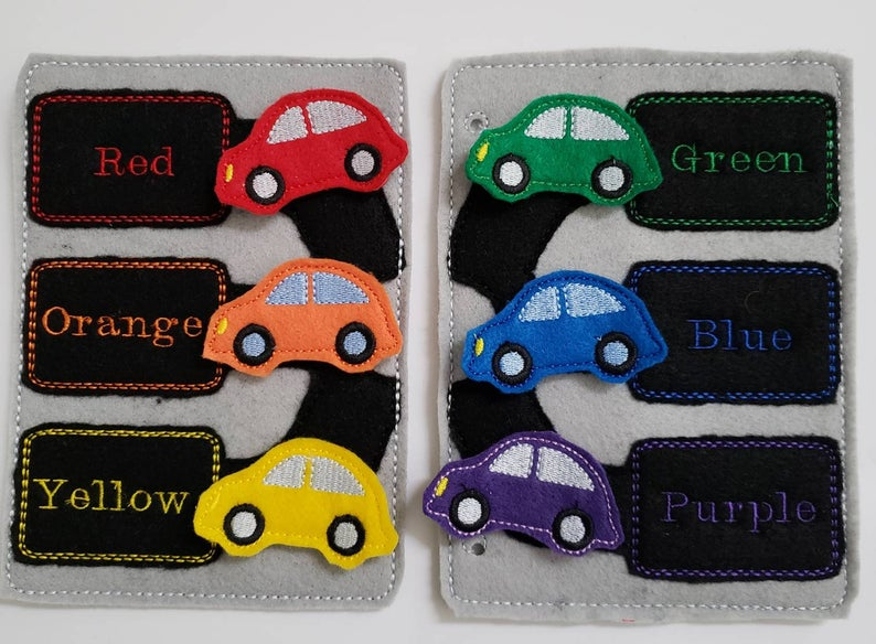 car coloring matching activity for quiet book