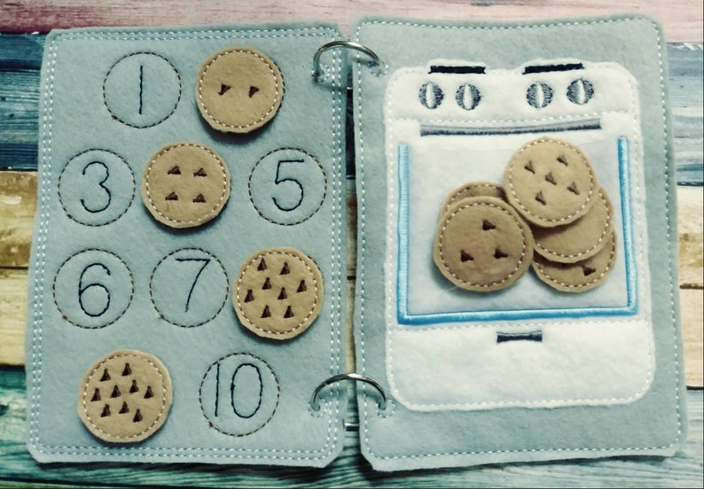 cookie counting activity for quiet book