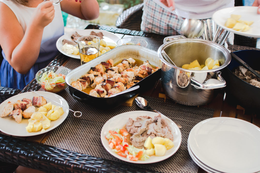 Food dishes for a group meal together