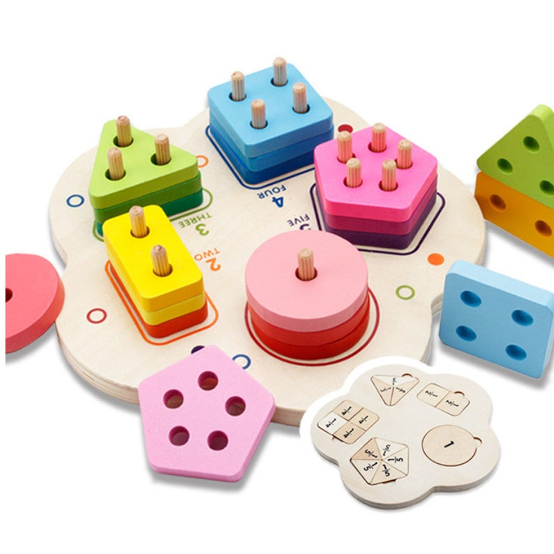 Montessori geometric stacking toy for toddlers