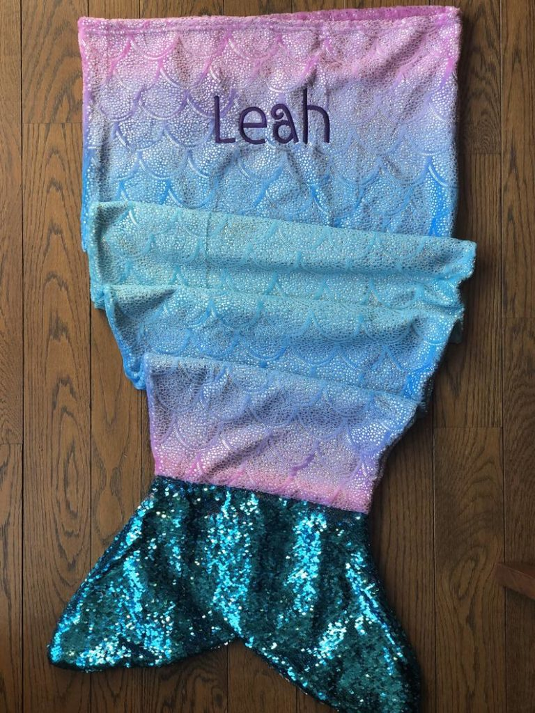 mermaid tale blanket with name personalization