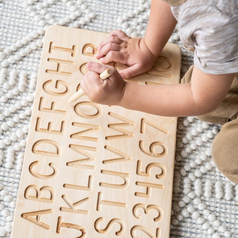 Wooden tracing board for toddlers learning toy